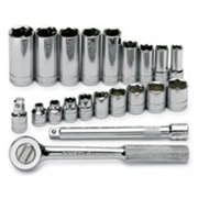 S - K Hand Tool SK4521 0.38 in. Driver 6 Point Fractional 21 Piece Socket Set