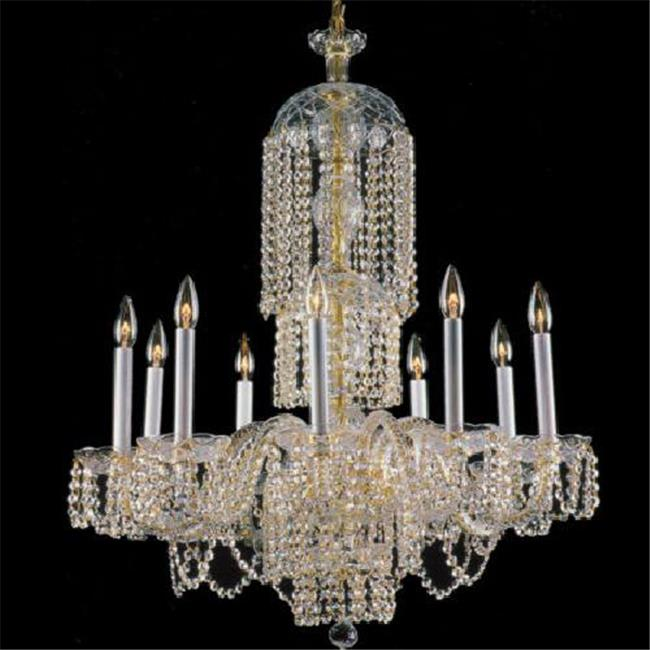 Upscale Chandelier 482110-10HC All Crystal Chandelier Adorned with Crystal Chains - Chrome