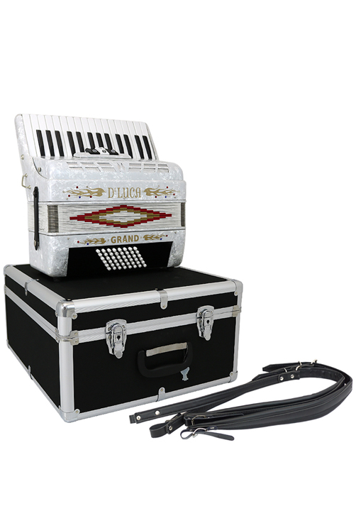 D'Luca Grand Piano Accordion 3 Switches 30 Keys 48 Bass with Case and Straps, White by D'Luca