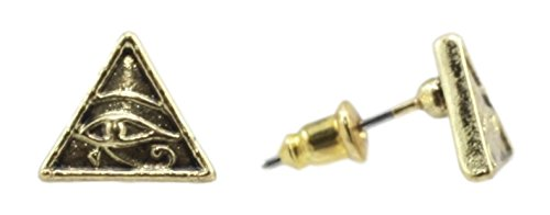 Classical History Egyptian Pyramid Eye Of Horus Golden Stud Earrings Pair Pewter