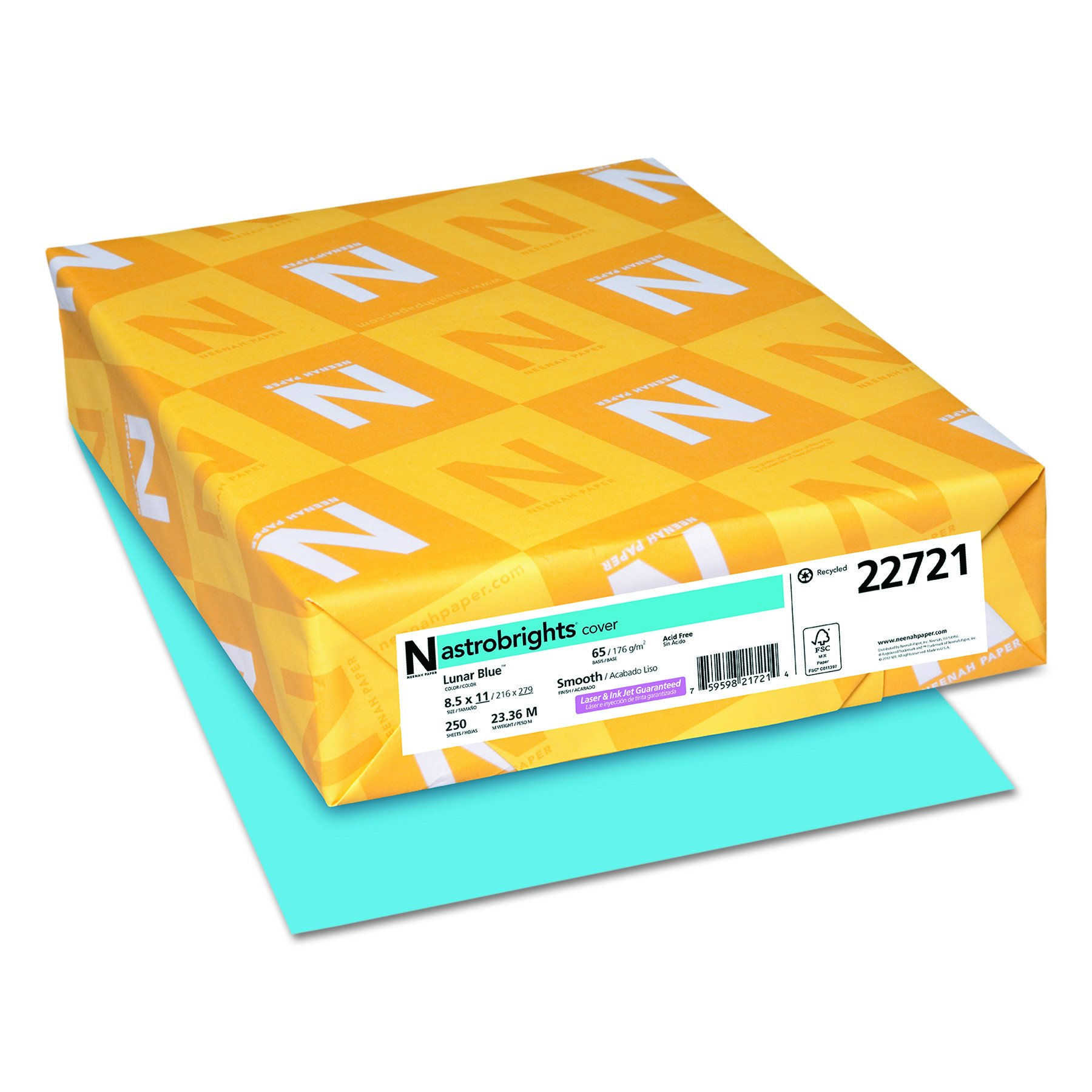 Wausau Paper 22721 Astrobrights Colored Cardstock, 8.5 x 11, 65 lb / 176 gsm, Lunar Blue, 250 Sheets