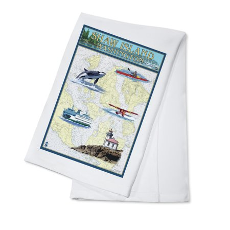 Shaw Island, Washington - Nautical Chart - Lantern Press Poster (100% Cotton Kitchen Towel)