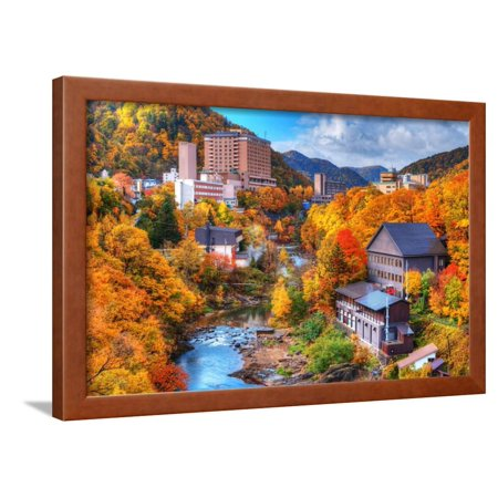 The Hot Springs Resort Town of Jozankei in the Northern Island of Hokkaido, Japan. Framed Print Wall Art By