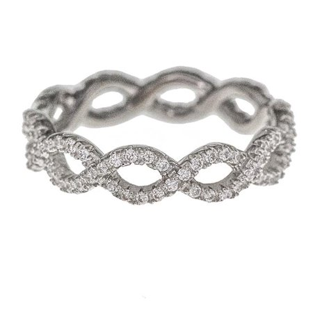 YGI SZR4188W2W-10 Sterling Silver Rhodium Infinity Eternity Ring, Size - 10 - image 1 of 1