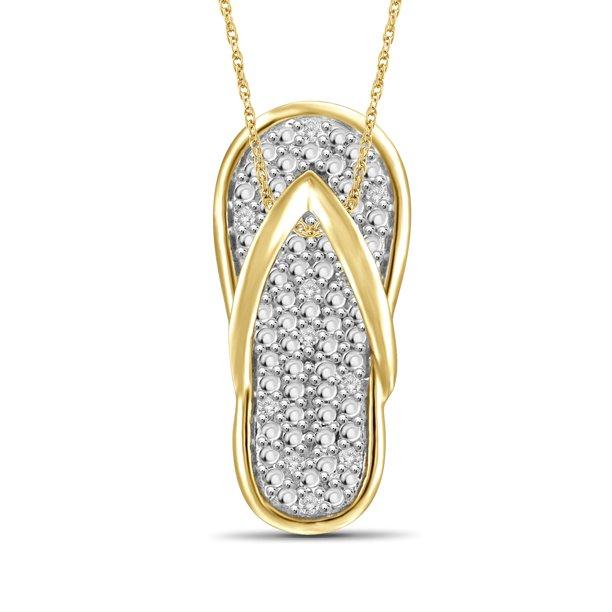Jewelersclub Jewelersclub White Diamond Accent 14k Gold Over Silver Flip Flop Pendant Walmart Com Walmart Com