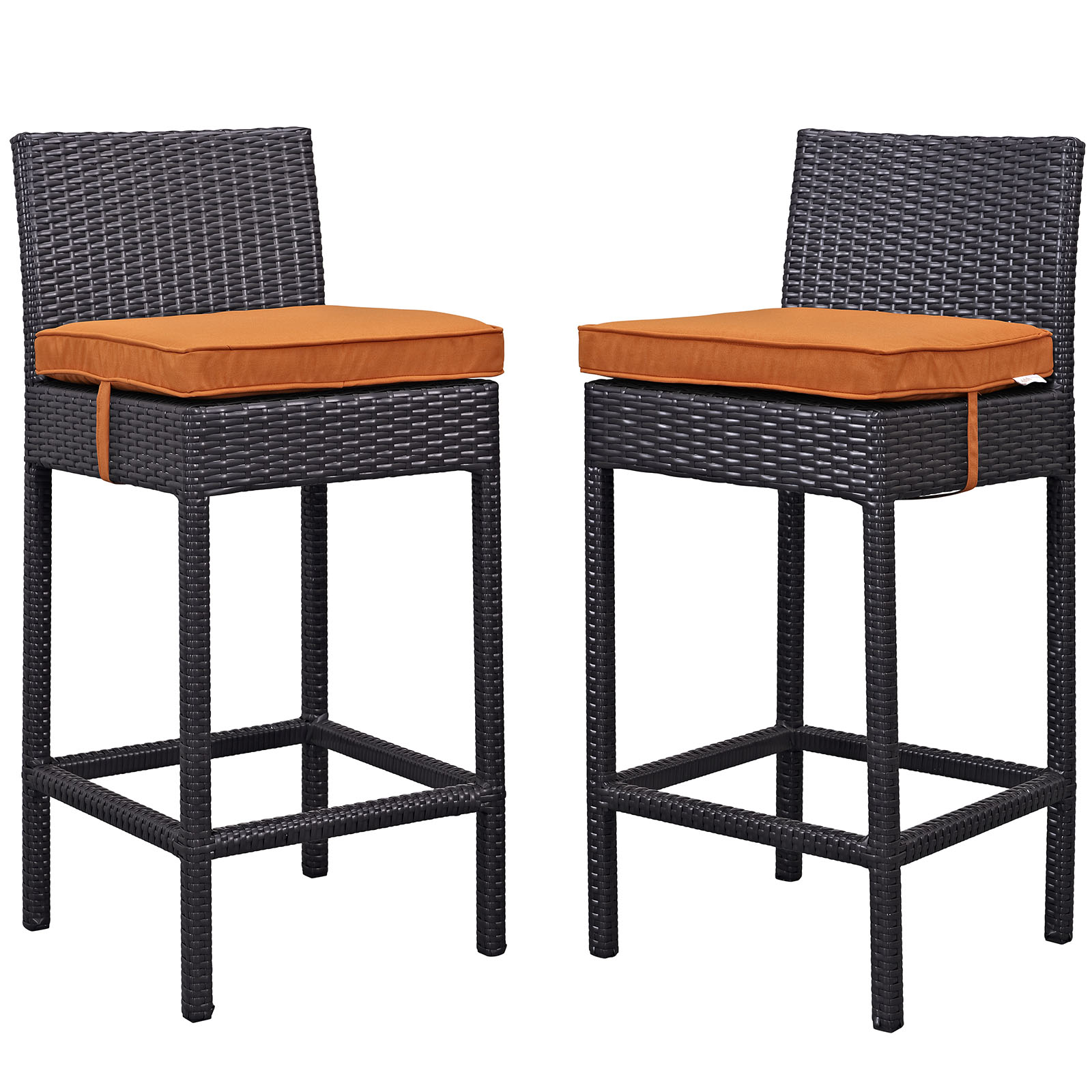 Modern Contemporary Urban Design Outdoor Patio Balcony Bar Stool Chair ( Set of Two), Orange, Rattan