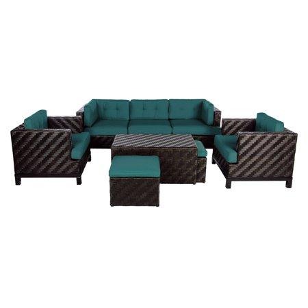 Ae Outdoor Rachel 8 Piece Deep Seating Conversation Set With Sunbrella Cushions