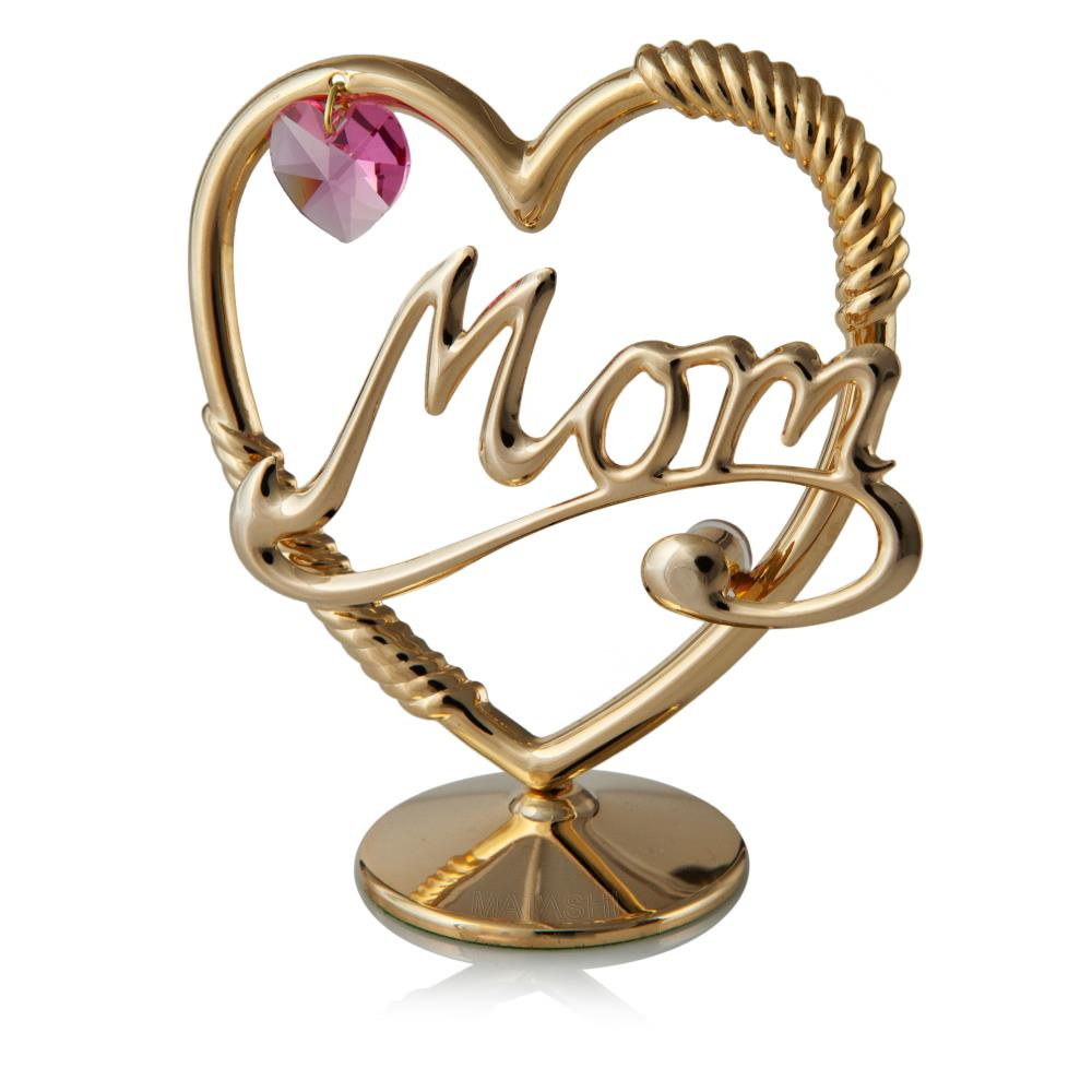 24K Gold Plated Crystal Studded Mom in A Heart Ornament with a Pink Crystal Loving Gift By Matashi