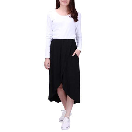 HDE Womens High Low Skirt Wrap Style Midi Maxi Hi Low Open Casual Jersey Skirt (Black, 2X) - image 3 of 6