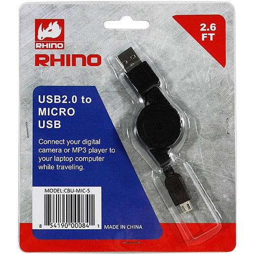 Rhino CBU-MIC-S USB 2.0 to Micro USB Retractable Cable