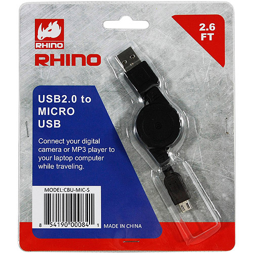 Rhino CBU-MIC-S USB 2.0 to Micro USB Retractable Cable