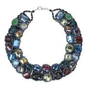 Aeravida Handmade Sparkling Treasure Multicolor Crystal Statement Necklace (Thailand)