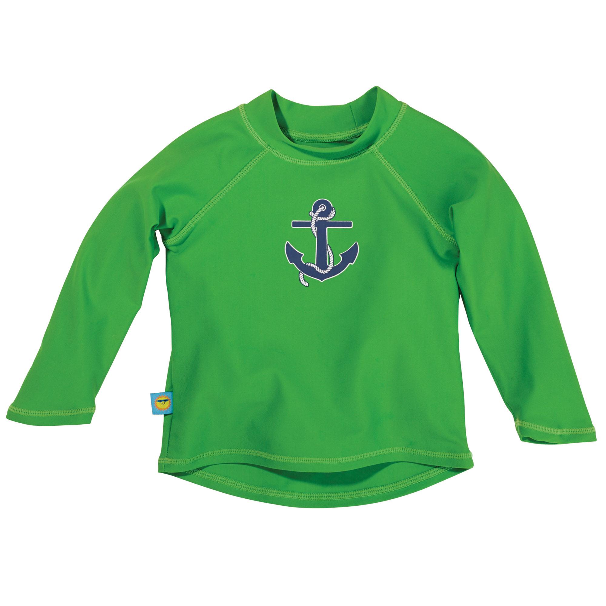 Sun Smarties Boy Rashguard - Green with Anchor Design - Long Sleeve