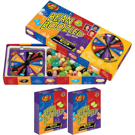 Jelly Belly 3.5 oz BeanBoozled Spinner Wheel Gift Box Game + 2 Extra 1.6 oz BeanBoozled Jelly Beans Refill Boxes