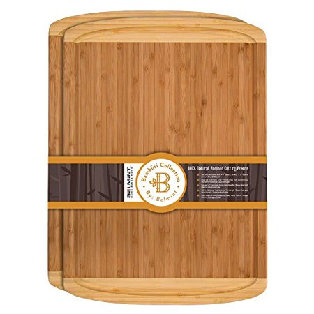 Premium Bamboo Cutting Board Set of 2 Large Chopping Board with Deep juice Groove, Thick Butcher Block. Perfect Gift Idea. By - Bamboo Decorating Ideas