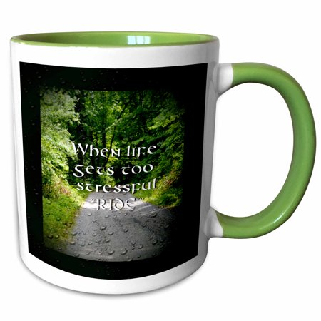 3dRose A photo of a country road with a motorcycle saying on it - Two Tone Green Mug, 11-ounce - Green Sayings