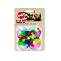 Kitty Yarn Puffs Cat Toys, 4 Small Balls, This toy is durable, long lasting and finished with wear resistant materials that are safe for your pet By Ethical