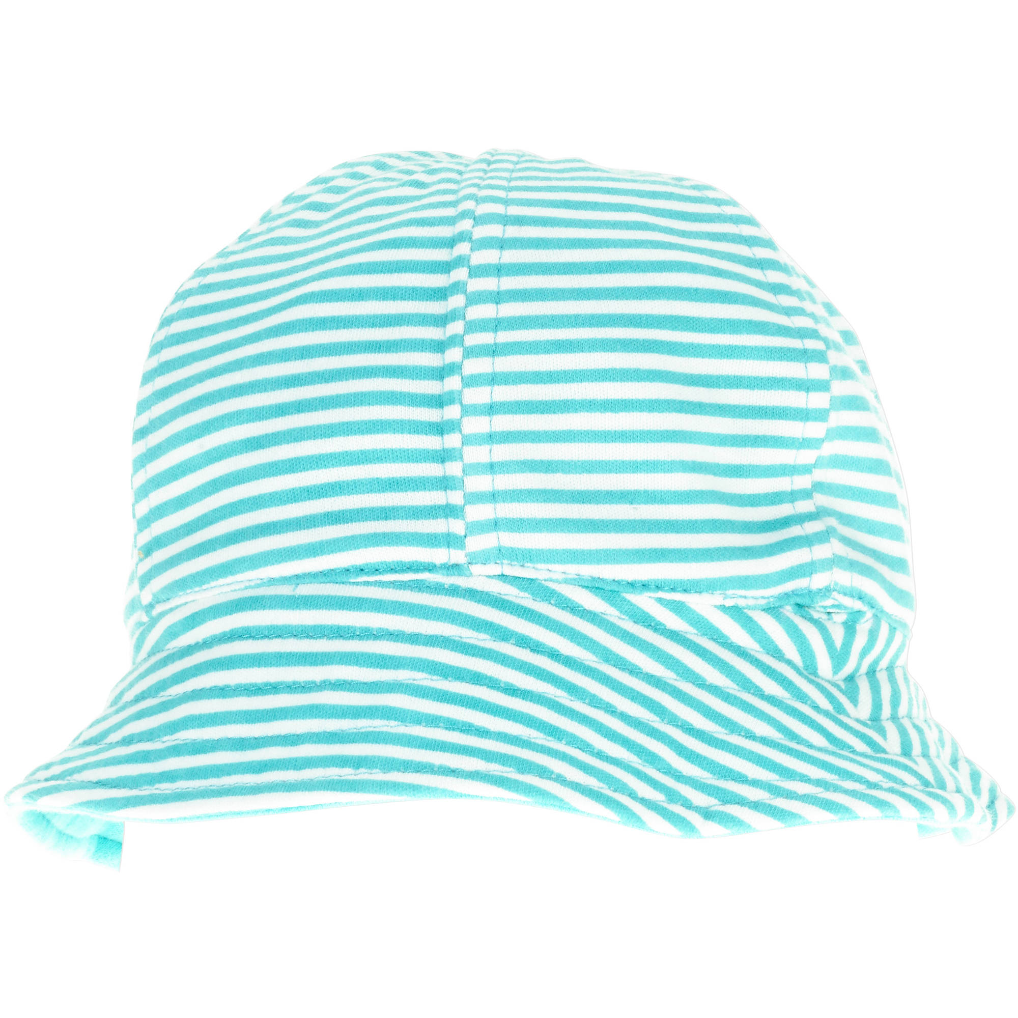 Infant Sun Hat Blue Stripe To Solid Design Reversible with Bow Upf 50+ 6-12M