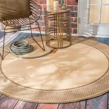 Nuloom Two Tone Border Indoor Outdoor Beige Porch Rug 6