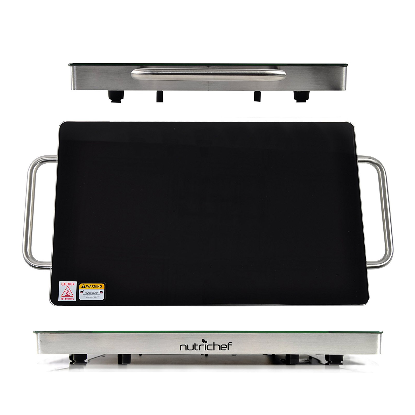 "NutriChef Electric Warming Tray / Food Warmer with Non-Stick Heat-Resistant Glass Plate - 19.8"" x 11.9"" Heating Surface"