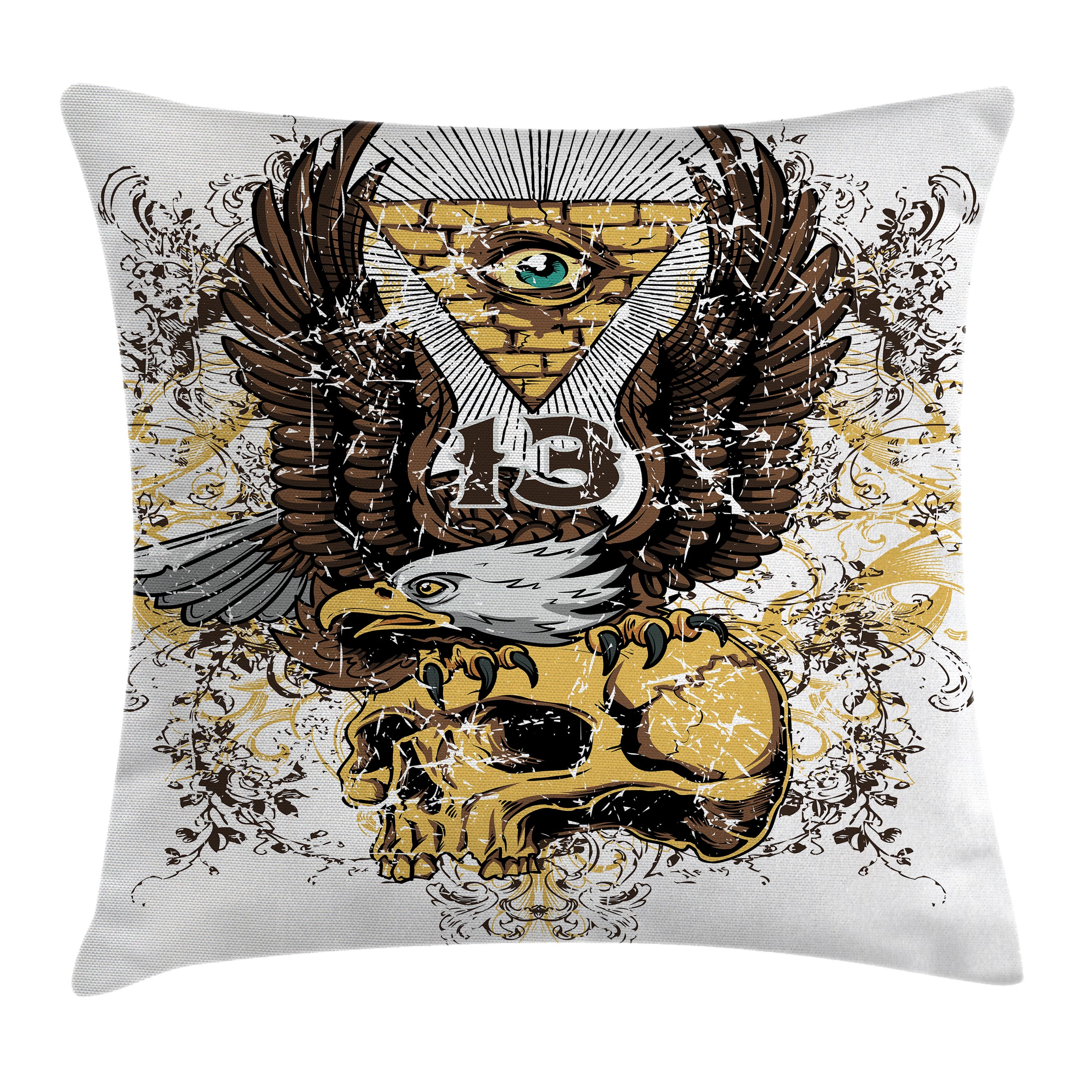 Tattoo Decor Throw Pillow Cushion Cover American Eagle Wings Wide