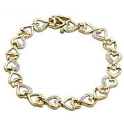 White Diamond Accent Sterling Silver Heart Link Bracelet, 8