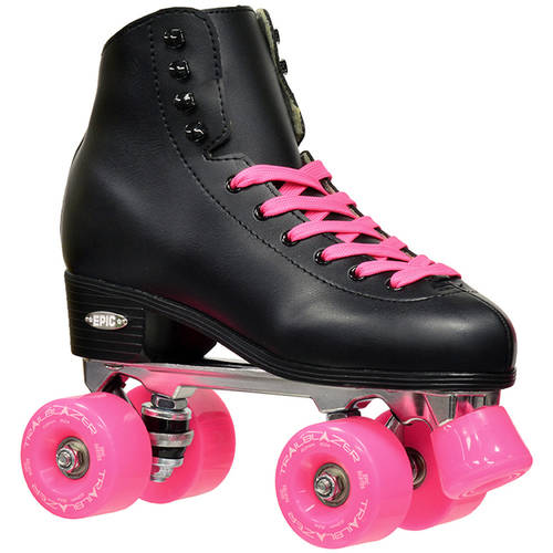Epic Classic Black and Pink Quad Roller Skates