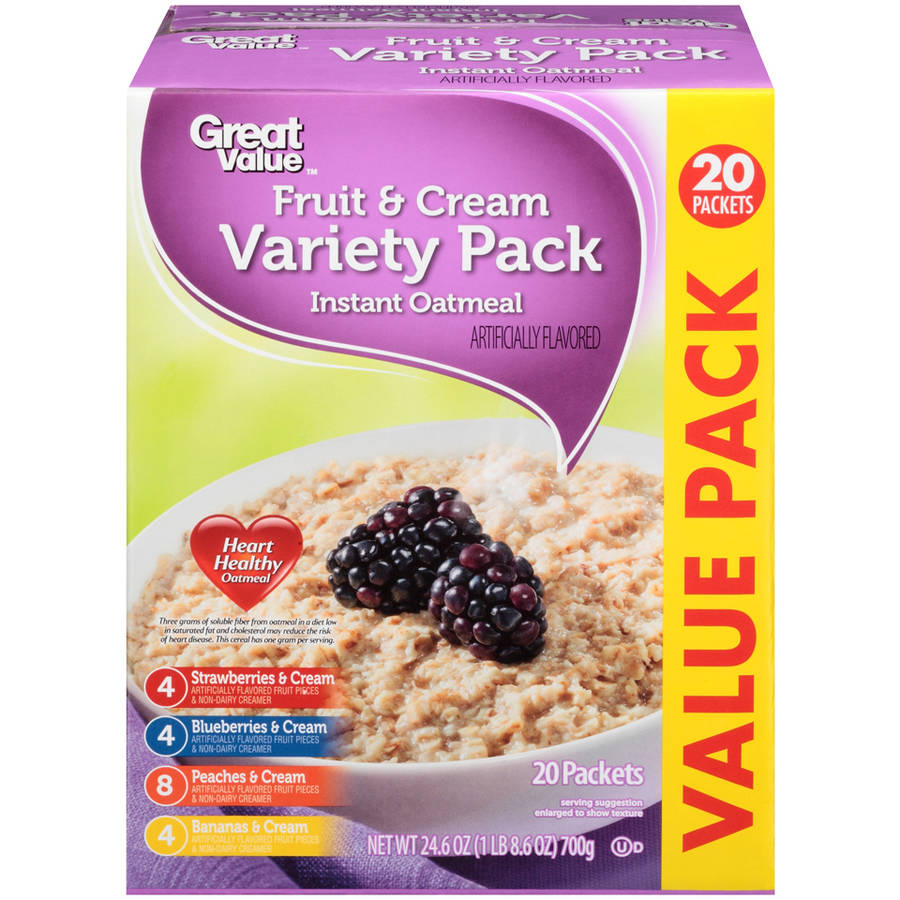 Great Value Fruit & Cream Variety Pack Instant Oatmeal, 20 count, 24.6 oz