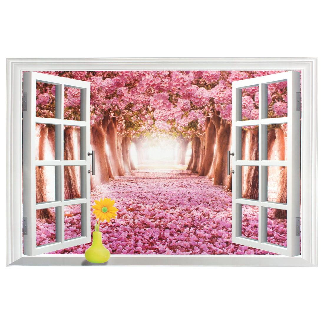 Unique Bargains Sakura Pattern 3D Window Scenery Removable Wall Sticker Art Mural Decal 90x60cm
