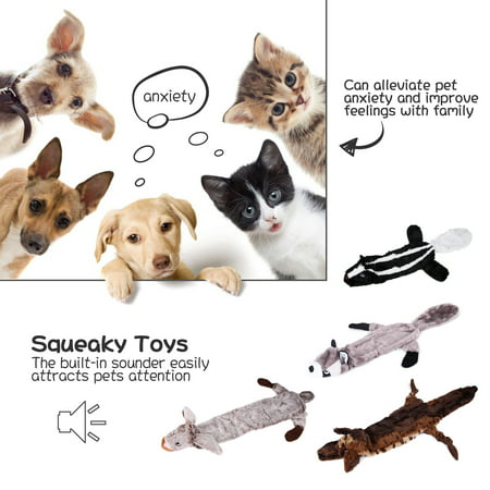 Value 4 Pack Set of Dog Toys for Puppies, Dog Squeaky Toys for Teething Chewing and Playtime, UC-WWQ820 No Stuffing Plush Animal Dog Toy Set for Small Medium Large Dog