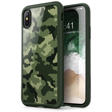 iPhone X Case, [Armorbox] i-Blason built in [Screen Protector] [Full body] [Heavy Duty Protection] [Kickstand],Iphone X, Camo Green