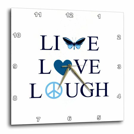 3dRose Live, Laugh, Love Aqua Butterfly- Inspirational Word Art - Wall Clock, 10 by 10-inch