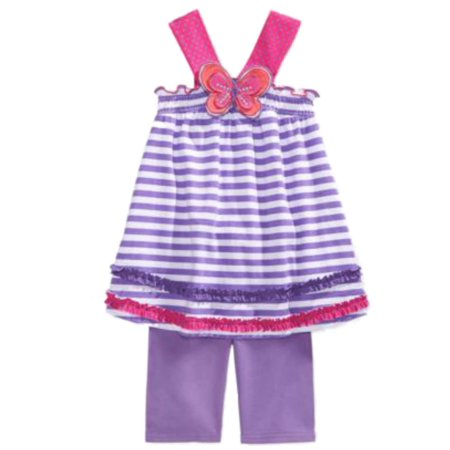 Young Hearts Girls Purple Stripe Butterfly Top & Shorts 2 Piece - Young Girls Spandex