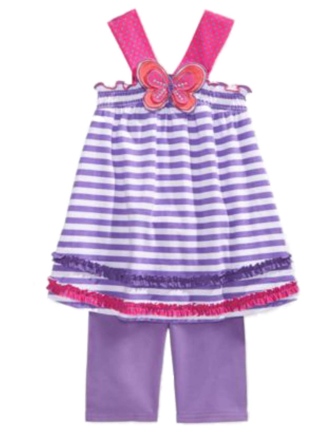 Young Hearts Girls Purple Stripe Butterfly Top & Shorts 2 Piece Set