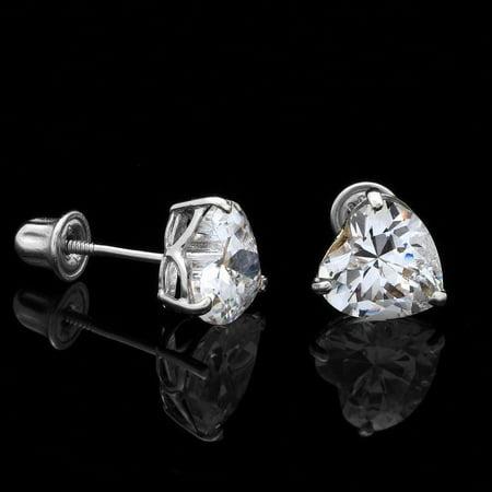 0.50Ct Created Diamond Heart Shaped Stud Earrings 14K Solid White Gold 4mm Solid 14k Gold Heart Earrings