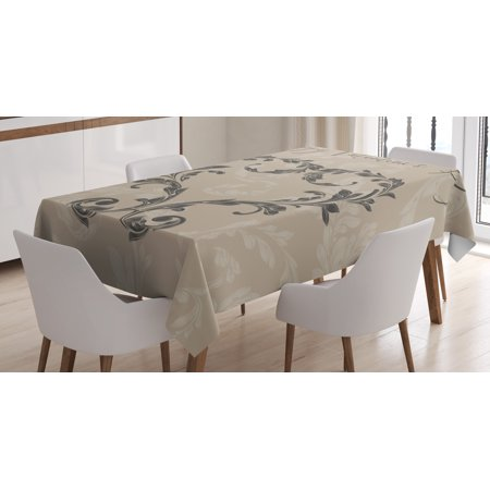 Taupe Tablecloth, Happy Valentine's Day Stylized Hand Writing Laurel Leaves Forming a Heart Victorian, Rectangular Table Cover for Dining Room Kitchen, 52 X 70 Inches, Taupe Tan, by Ambesonne - Valentine Tablecloth