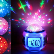 Children Room Music Starry Star Sky Clock Natural Sound Alarm Creative Color Light Projection Clock Sleep Electronic Clock with Calendar and Thermometer