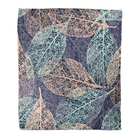KDAGR Flannel Throw Blanket Pattern Fall Leafs Outline Abstract Autumn Season Paintings Botany Soft for Bed Sofa and Couch 58x80 Inches ()