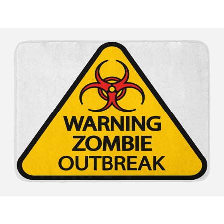 Zombie Bath Mat, Warning the Zombie Outbreak Sign Cemetery Infection Halloween Graphic, Non-Slip Plush Mat Bathroom Kitchen Laundry Room Decor, 29.5 X 17.5 Inches, Earth Yellow Red Black, Ambesonne](Halloween Cemetery Signs)