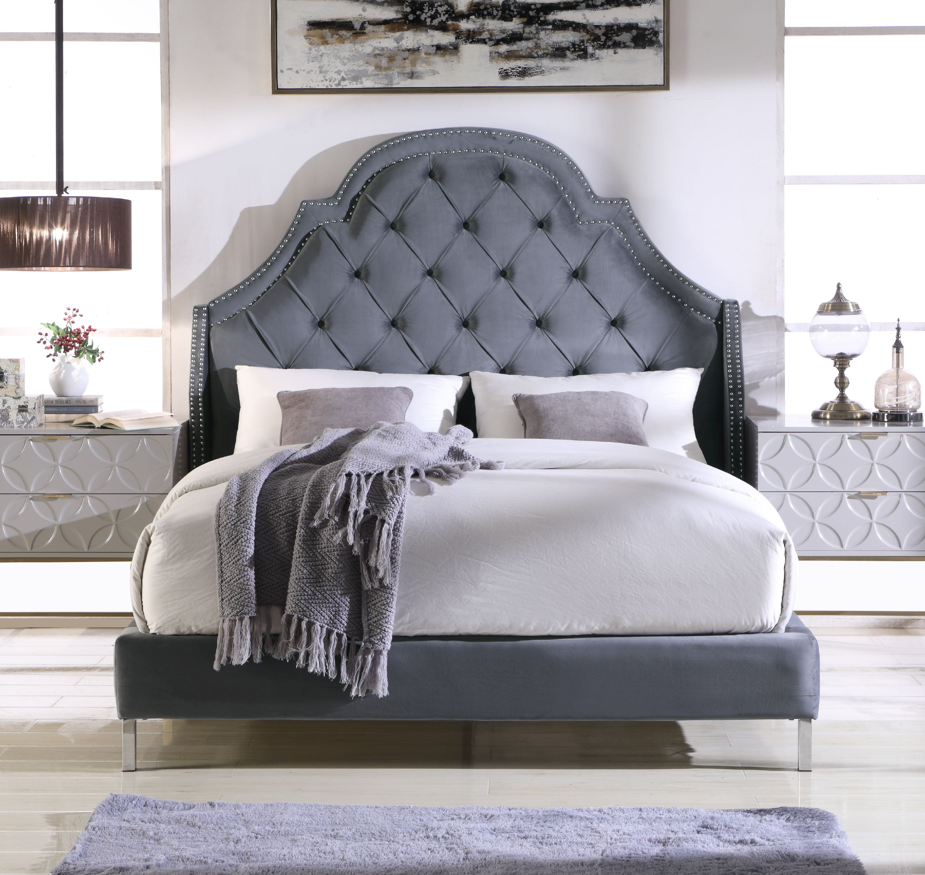 Chic Home Constantine Bed Frame Headboard Velvet Upholstered