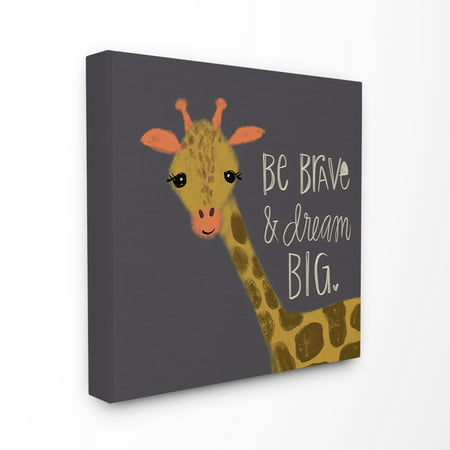 The Kids Room by Stupell Be Brave Dream Big Giraffe Stretched Canvas Wall Art, 24 x 1.5 x 24 ()
