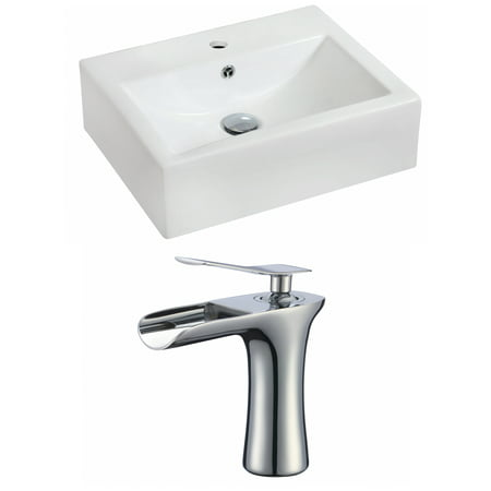 Rectangle Single Hole - 20.25-in. W Wall Mount White Vessel Set For 1 Hole Center Faucet - Faucet Included