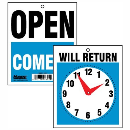 Headline Sign 9382 Double Sided Open Will Return Sign With Clock Hands 7 5 Inches By 9 Inches