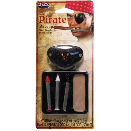 Fun World Scarred Pirate 6pc Makeup Kit, Beige Black Red - Do It Yourself Scary Halloween Makeup