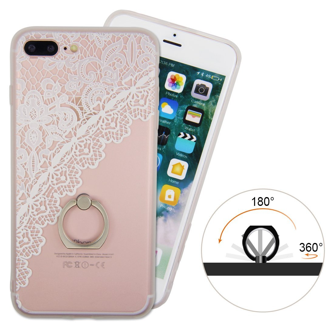 Iphone 7plus 8plus Case Finger Ring Stand Ultra Thin Hard Pc Back