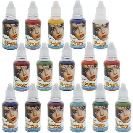16 Couleur Airbrush 1 oz Face -amp- Body Art Peinture au kit personnalisé Temp à base d'eau Tattoo