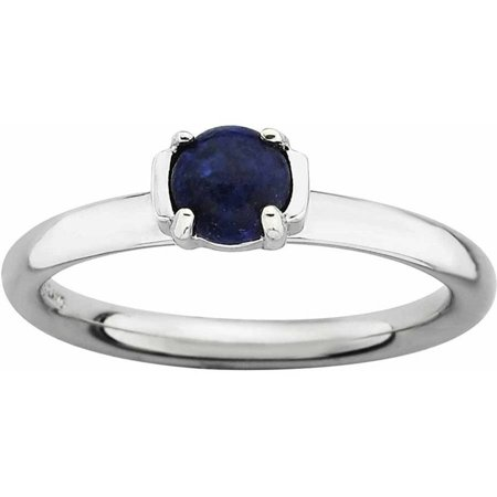 Sterling Silver Polished Blue Lapis Ring
