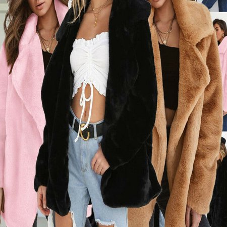Ladies Casual Warm Solid Open Stitch Parka Jacket Outwear Women Winter Fluffy Shaggy Long Sleeve Faux Fur