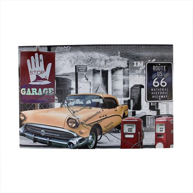 NorthLight 23. 5 inch Battery Operated 8 LED Route 66 Garage Canvas Wall Hanging