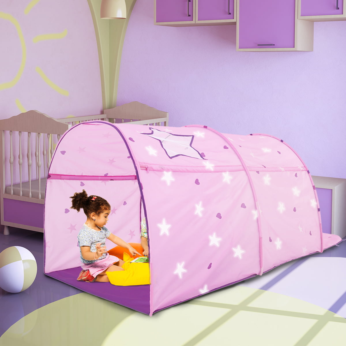 Bed Tent Canopy Kids Play Playhouse Privacy Twin Starlight Pink Pop Up By Alvantor Walmart Com Walmart Com